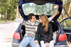 Couple in a car Stock Photography