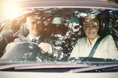 Couple in a car Royalty Free Stock Image