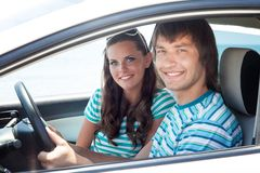 A couple in the car Stock Photo