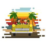 Couple driving a golden retro car on a pyramids and palm trees background. Careless driver character. Vector flat cartoon illustra. Couple car driving. Careless Royalty Free Stock Photo