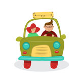 Couple in car going on a trip. Vector illustration Stock Photo