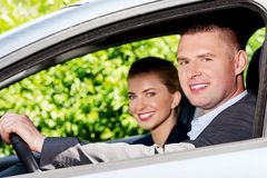 Couple in the car Royalty Free Stock Photos