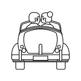 Couple car honeymoon travel outline. Illustration eps 10 stock illustration