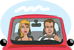 Couple in a car. Illustration of a couple inside a red car Stock Photos