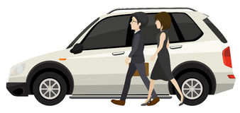 Couple and car. Illustration of a couple walking next to the car Royalty Free Stock Image