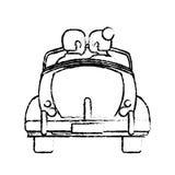Couple car married honeymoon sketch. Illustration eps 10 stock illustration