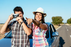 Couple on car roadtrip vacation Royalty Free Stock Photos