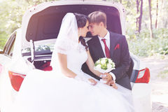 Couple in the car,tinted Royalty Free Stock Images