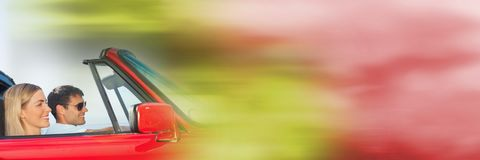 Couple in car with transition effect Royalty Free Stock Photo
