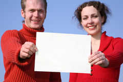 Couple with card Stock Image