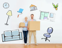 Couple with cardboard boxes moving to new home Stock Photography