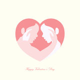 Couple caressing in heart shaped silhouette Royalty Free Stock Images