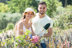 Couple caring their garden Royalty Free Stock Photo