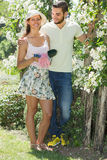 Couple caring their garden Royalty Free Stock Photos