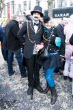 Fin de Siecle Couple on Carnival in Dusseldorf royalty free stock photos
