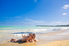 Couple at the carribean beach Stock Photos