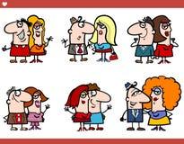 Couple cartoon characters set. Cartoon Illustration of Couple Funny Characters Set Stock Photo