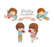Couple cartoon icon. Invitation and save the date design. Vector Royalty Free Stock Image