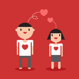 Couple cartoon lover on white t-shirt red background Stock Photography
