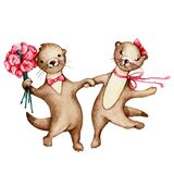 A couple of cartoon otters in love fight for hands and dance. Watercolor hand drawn illustration isolated on white