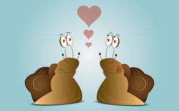 Couple cartoon snails. Blue cartoon background with couple snails falling in love Stock Photos