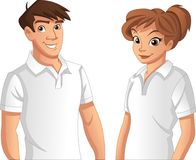 Couple of cartoon young people. Wearing white polo shirt Royalty Free Stock Image