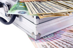 A couple of case and the money. Background Royalty Free Stock Photos