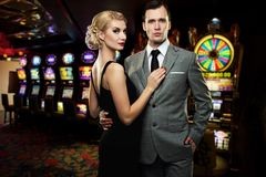 Couple in casino Royalty Free Stock Photo
