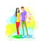 Couple casual clothes over colorful paint splash Royalty Free Stock Image