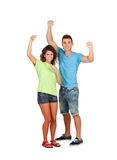Couple of casual friends celebrating something. Isolated on a white background royalty free stock image
