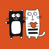 Couple of cat, sketch for your design Royalty Free Stock Photos
