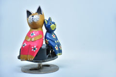 Couple cat. Two Cat sitting on music box Royalty Free Stock Photos