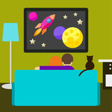 Couple and cat watching the sci-fi movie on television Stock Photography