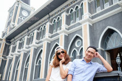 Couple at cathedral in  pre wedding. Asian christian couple take a pre wedding at  cathedral outdoor Stock Photo