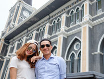 Couple at cathedral in  pre wedding. Asian christian couple take a pre wedding at  cathedral outdoor Stock Image