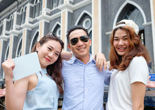 Couple at cathedral in  pre wedding. Asian christian couple take a pre wedding at  cathedral outdoor Royalty Free Stock Photos