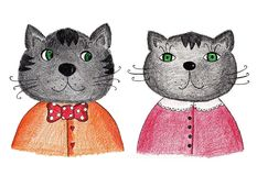 Couple of cats. Artistic work. Pencils on paper Stock Photo