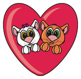 Couple  cats in a heart Stock Photography