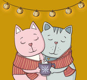 Couple of cats in love with a cup of hot chocolate illustration Royalty Free Stock Photos