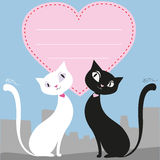 A couple of cats and a red heart, greeting card or banner, vecto Royalty Free Stock Photos