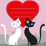 A couple of cats and a red heart, greeting card or banner, vecto Stock Photography