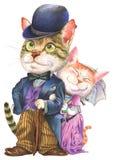A couple of cats in retro fashion Stock Photo