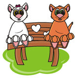 Couple of cats sitting on a bench. Isolated couple of cats sitting on a bench on a white background Stock Photo