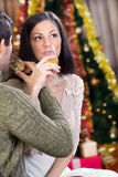 Couple celebrate Christmas night. Beautiful couple celebrate Christmas night royalty free stock photography