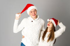 Couple celebrate christmas in studio Royalty Free Stock Images