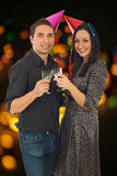 Couple celebrate New Year Stock Images