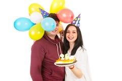 Couple celebrate woman birthday Stock Images
