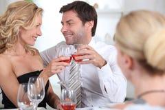 Couple celebrating stock image