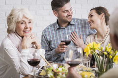 Couple celebrating anniversary with parents Stock Image