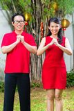 Couple celebrating Chinese new year Stock Images